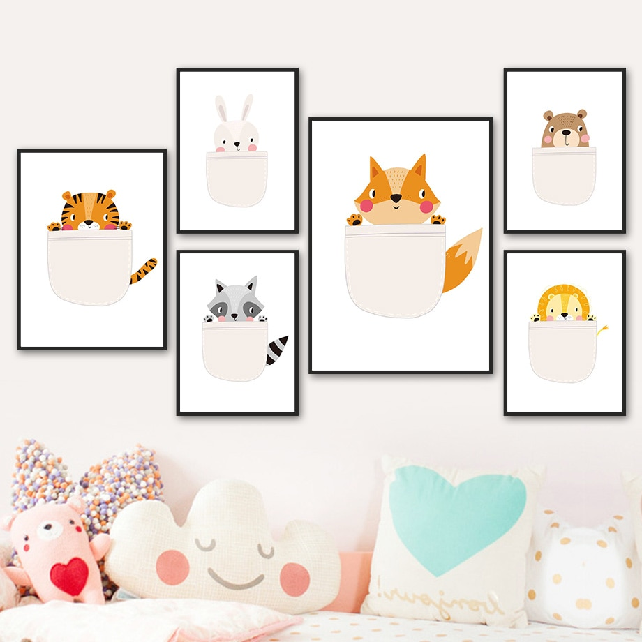 AliExpress - Lion Bear Tiger Rabbit Raccoon Fox Cute Cartoon Wall Art Canvas Painting Nordic Poster And Prints Wall Pictures Kids Room Decor