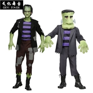 new Frankenstein  green costume muscle halloween costume for kids boy adult cosplay men's Jumpsuit with mask Accessories