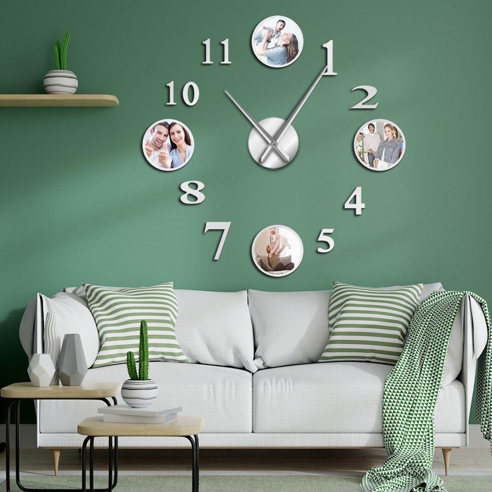 Marco de foto de pared grande reloj personalizado foto decorativa habitación reloj familiar imágenes personalizadas marco gran reloj