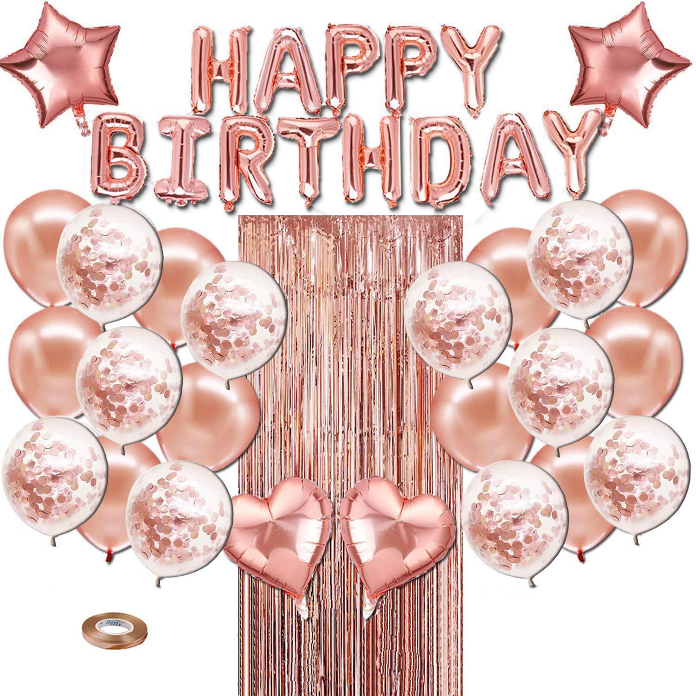 40Pcs Rose Gold Latex Gordijn Confetti Hart Folie Ballonnen Decor Liefde Happy Birthday