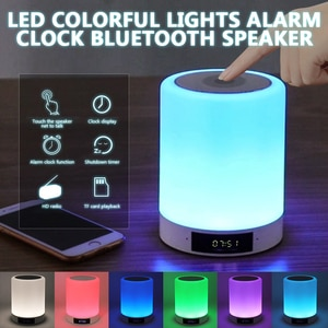 2021 Night Lights Bluetooth Speaker With Alarm Clock MP3 Music Player FM Radio Touch Control LED Lamp Dimmable Night Lights