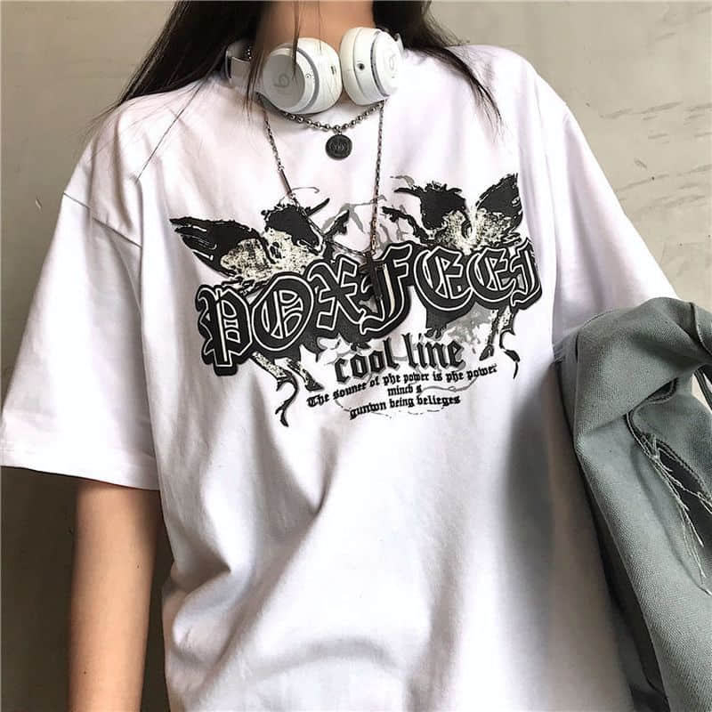 T-shirt Men And Women Pure Cotton Summer New Cool Style Dark Loose Harajuku Short-sleeved Top Aesthetic Print