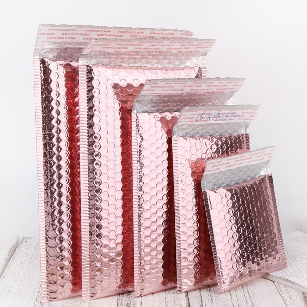 Enveloppes métalliques rembourrées, Poly courrier holographique, laser, bulles roses, pour emballage d'expédition, US Warehouse, 10 pièces/lot