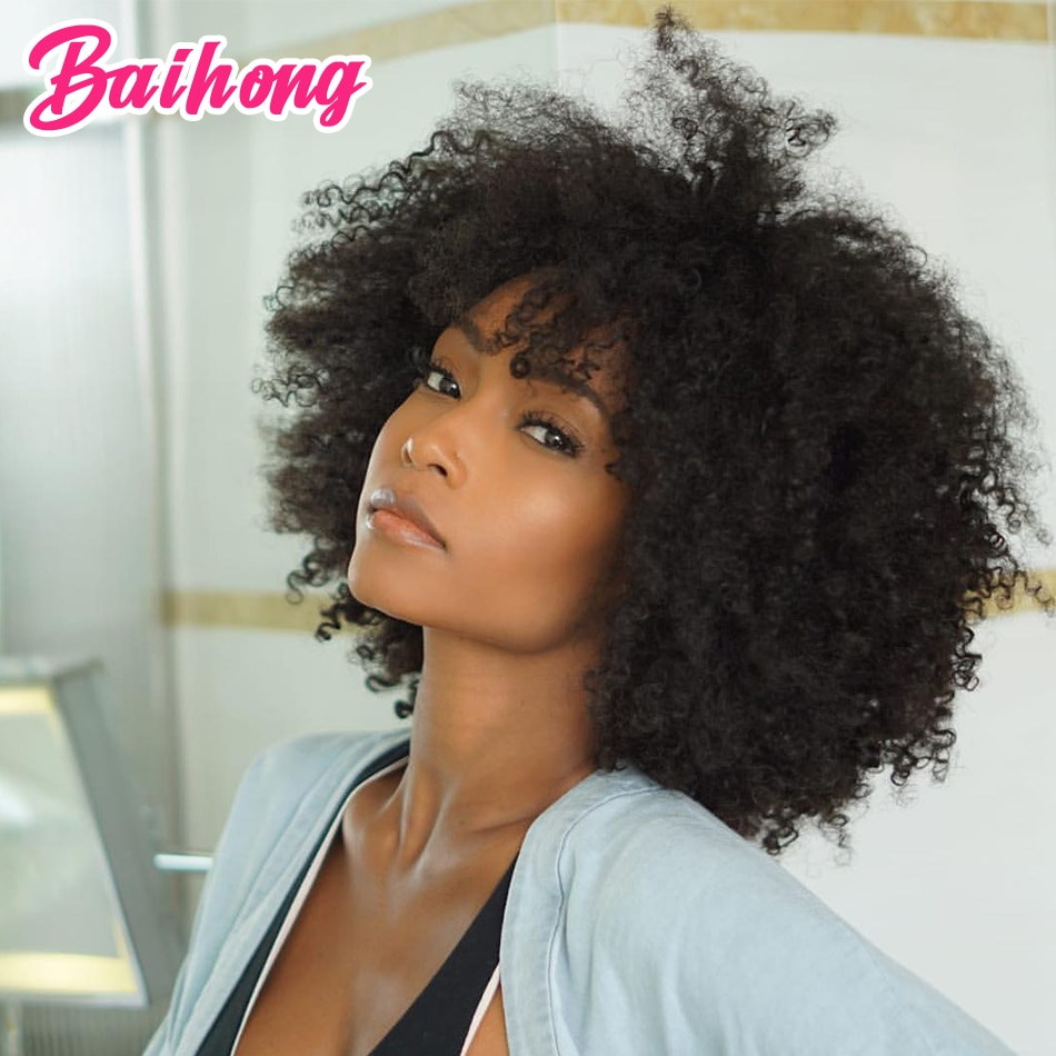 Cheap Human Hair Wig With Bangs Afro Kinky Curly Brazilian Hair Wigs For Black Women Glueless Colored Natural Curly BAIHONG