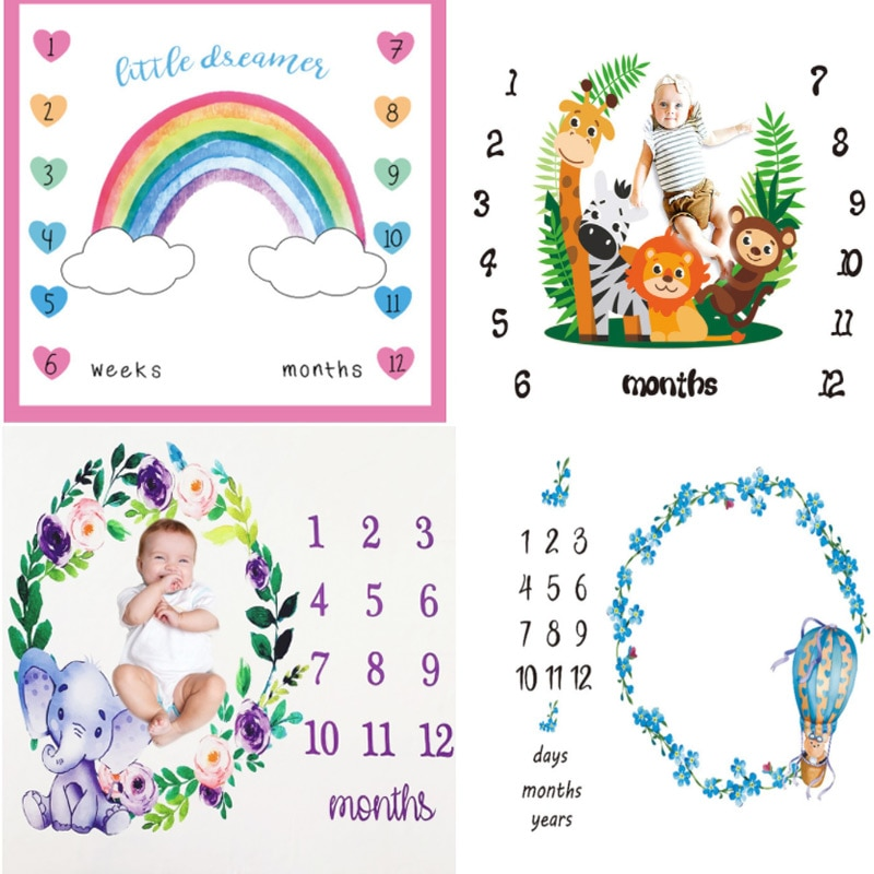 Baby Milestone Background Photo Blanket Infant Photography Backdrop Cloth Kids Photographic Calendar Photo Props Accessories