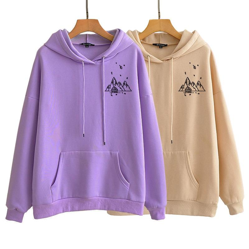 Harajuku Retro Mountain Print Sweatshirt Autumn Winter Long Sleeve Streetwear Hoodie Casual Simple Hooded Women Clothes
