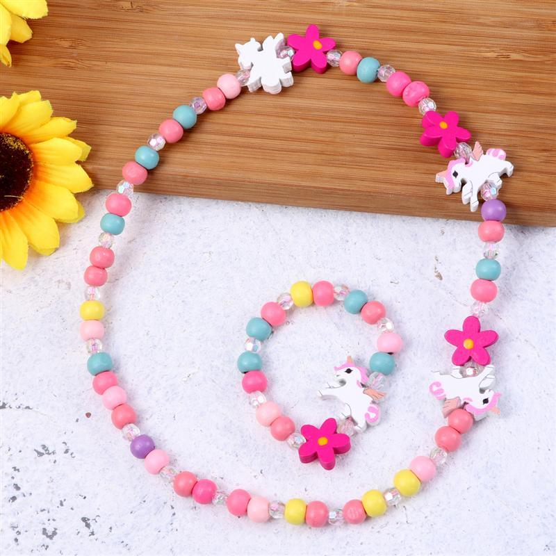Juego de joyas de madera de colores para niños, collar con cuentas de unicornio y pulsera, regalo para fiesta de cumpleaños