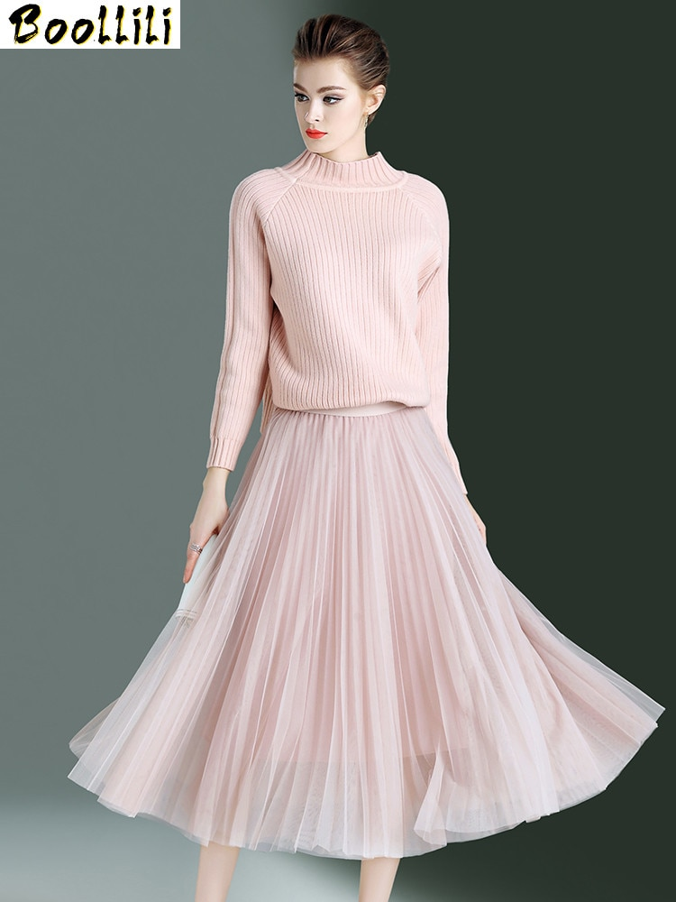 Boollili طقم مكون من قطعتين نسائي لربيع وخريف 2020 بلوزة أنيقة كلاسيكية مع تنورة طويلة تنورات نسائية كورية وردية اللون