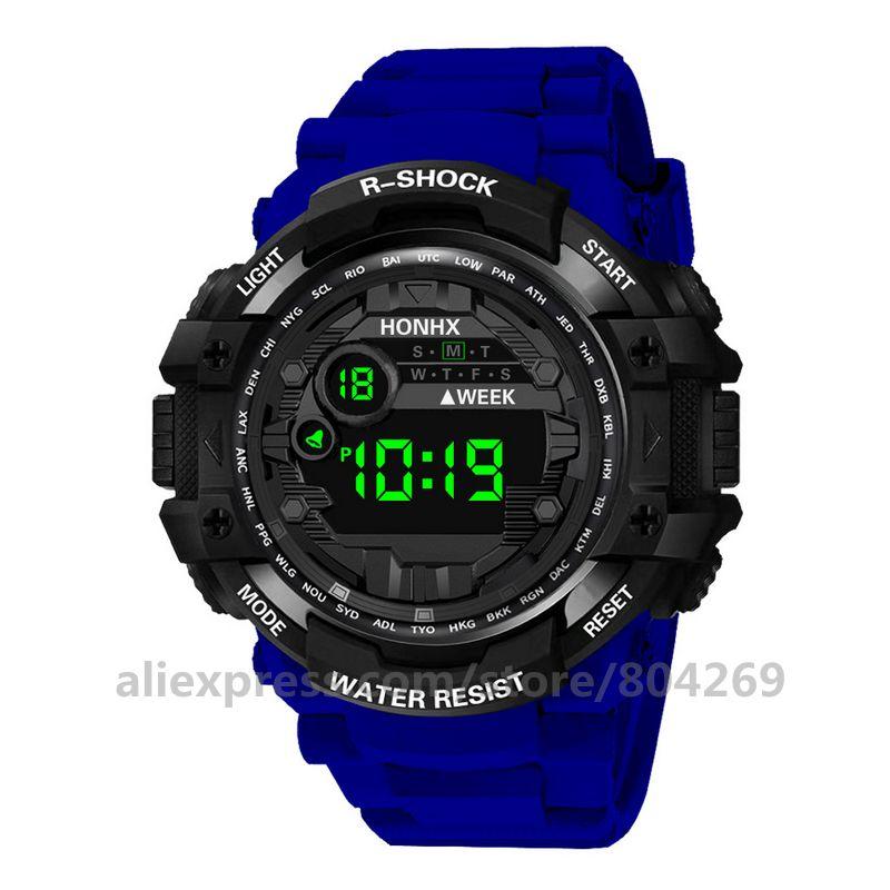 Digital de Luxo Masculino ao ar Honhx Esporte Masculino Relógio Homem Digital Led Livre Data Relógios Eletrônicos Pulso 53-66f