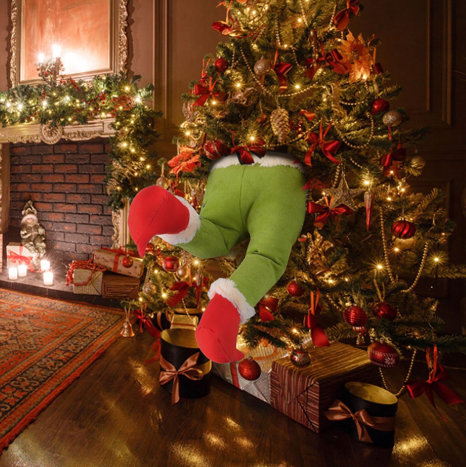 15.7in pernas de pelúcia para decorações de natal pernas recheadas para árvore de natal para casa ornamento decoração de mesa presente de natal ano novo