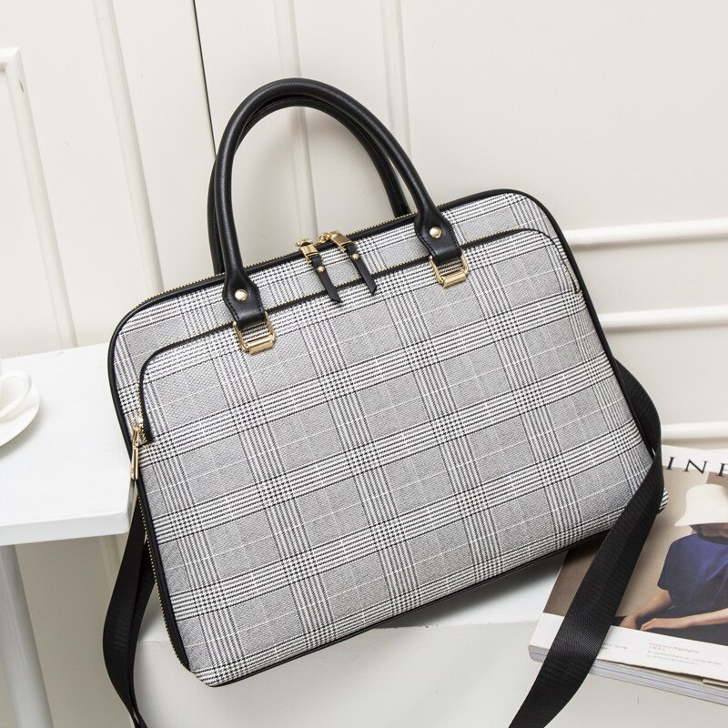 Fashion Women Leather Briefcase Woman Laptop Handbag Office Work Bags For Women's Business Shoulder Bag Computer 14.1 Inches New