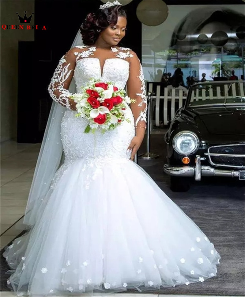 Promo Sexy Mermaid Long Sleeve Wedding Dresses Tulle Lace Flowers Formal Women Bride Gowns Custom Size SK48