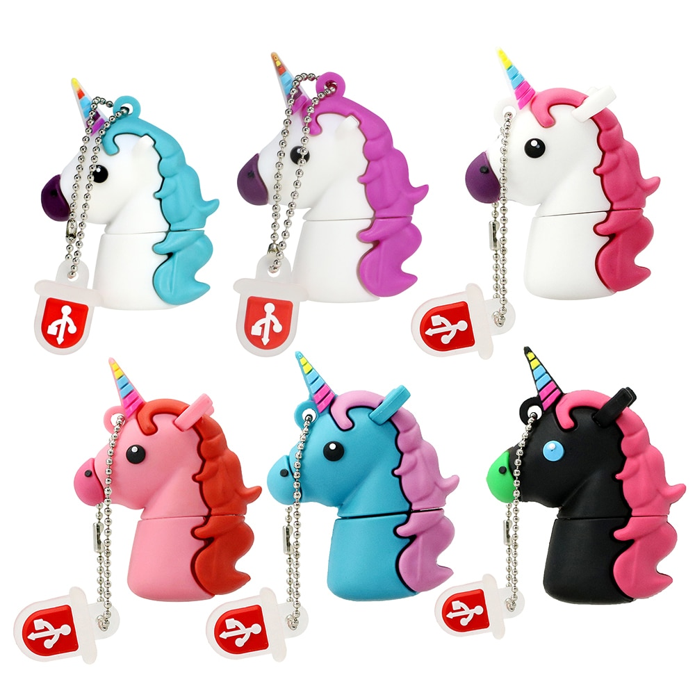Cartoon USB 2.0 128GB Einhorn Pen Drive 64GB 32GB Usb-Stick Niedlichen Pferd Stick Reale Kapazität 4GB 8GB 16GB Memory Stick