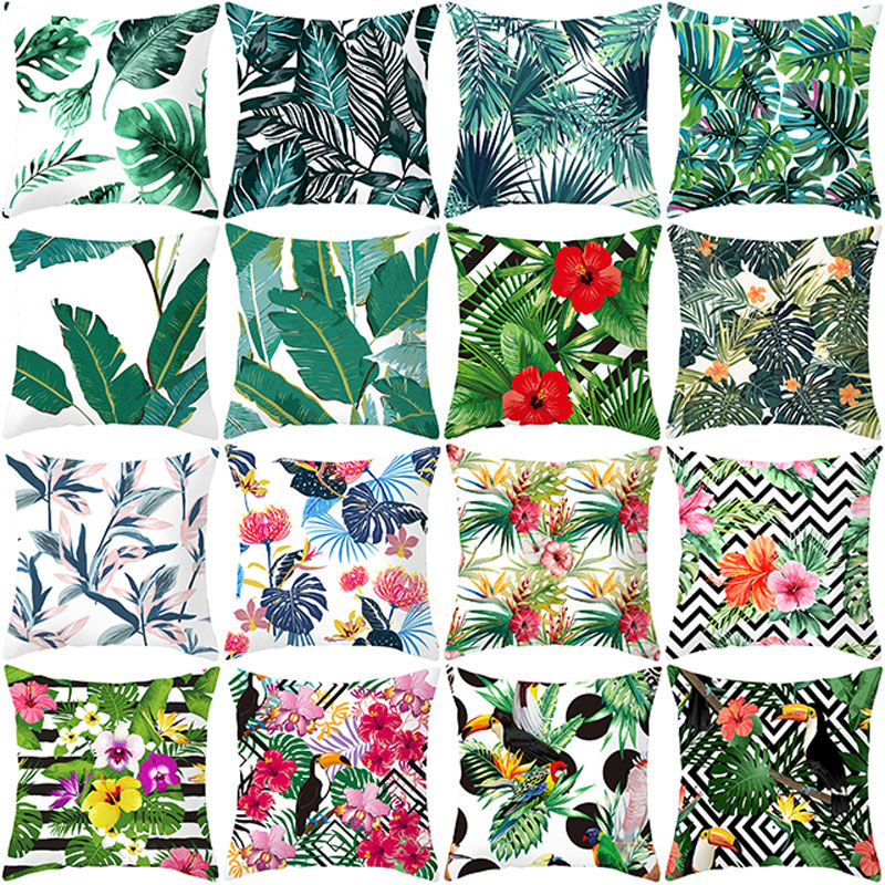 Летняя декоративная наволочка YWZN с тропическими растениями, наволочка с зелеными листьями, наволочка из полиэстера, наволочка с принтом, на...