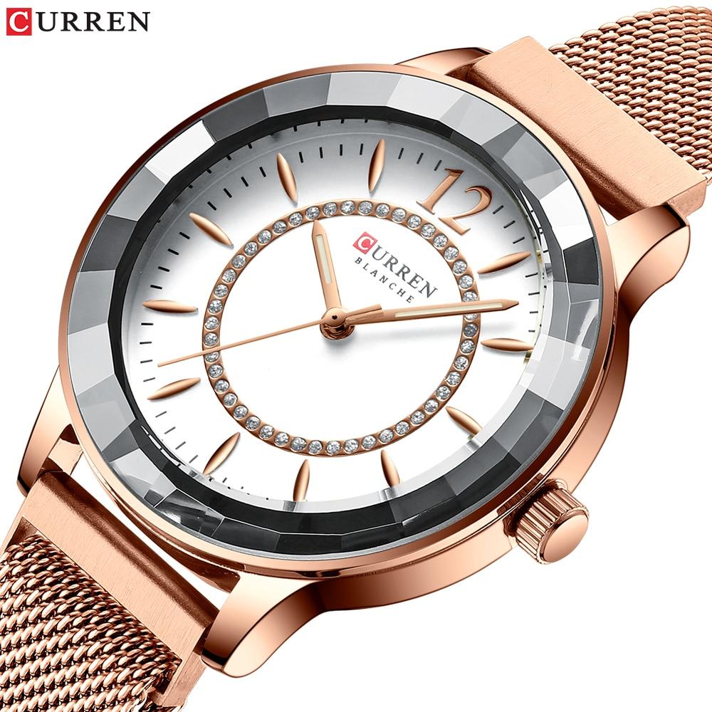 CURREN Female Clock Design Dress Quartz Watch Rose Gold Ladies Stainless Steel Band Wristwatches for Women relogios feminino