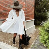 autumnwinter bubble sleeve dress light ripe deep v cotton loose lovely youth maid a line high waist casual elegant party skirt