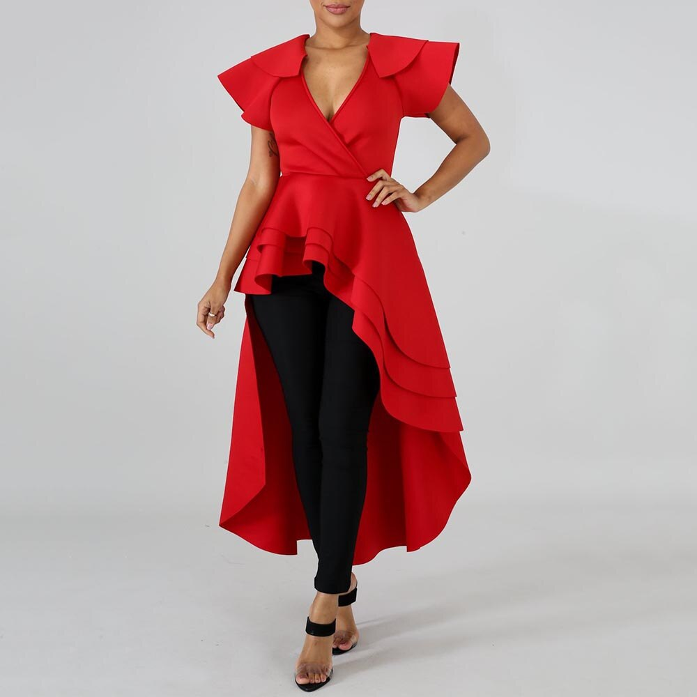 Mujeres Africanas rojo largo volantes blusa alto bajo Irregular señoras moda verano Tops y blusas Falbala asimétrica 2020 Mujer