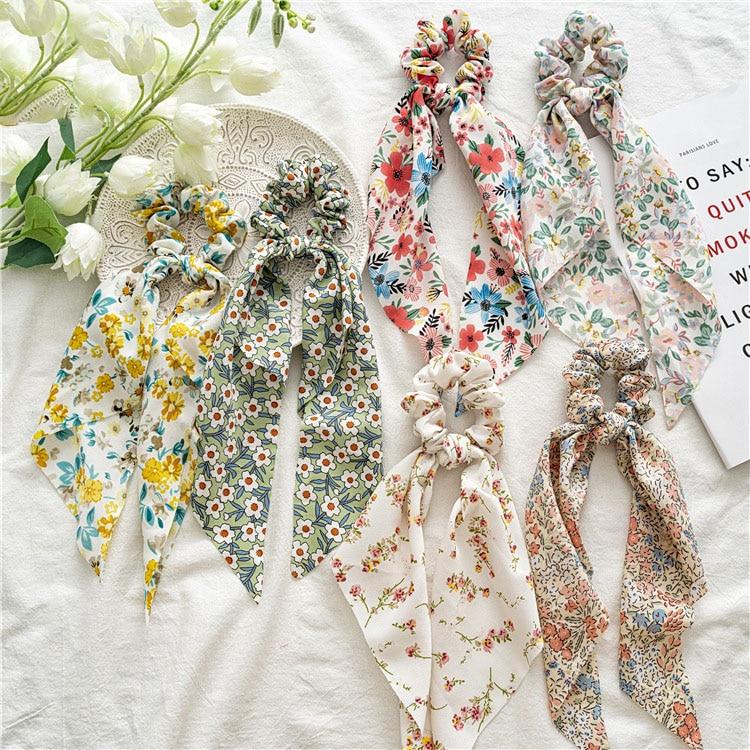2021 Spring Summer French Style Flowers Hair Ruban Rope Vintage Chouchou Accessories Chiffon Fabric Korean Scrunchies