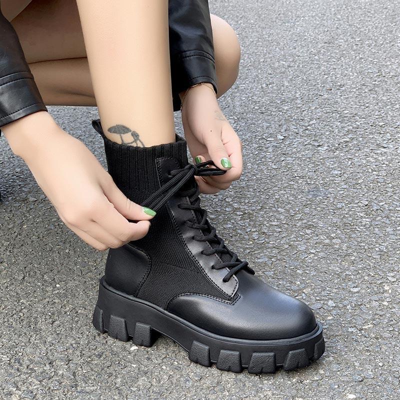 Frauen Armee Kampf Knöchel Stiefel Frau Schuhe Casual Lace Up Gothic Schwarze Socke Plattform Leder Stiefel Mode Botas Mujer 2020 neue