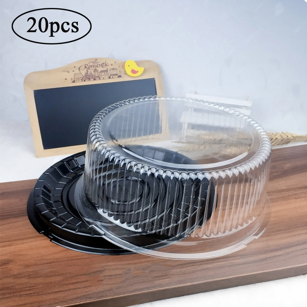 20 шт. прозрачная пластиковая упаковочная коробка для выпечки, коробка для тортов, коробки для кексов, портативные коробки для тортов и упако...