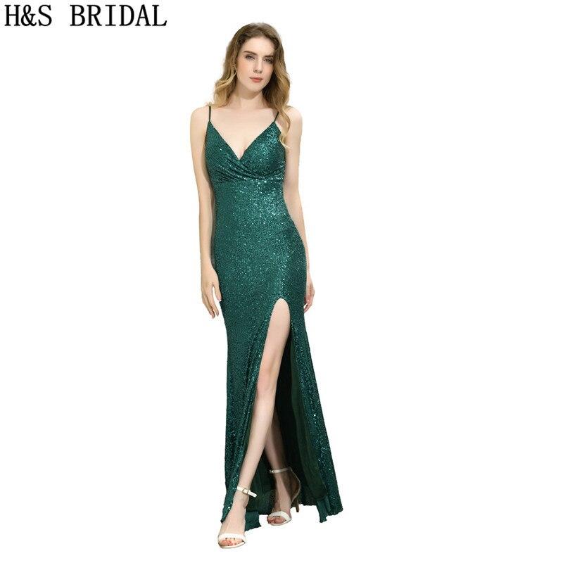 Vestido de Noite com Decote em v Vestidos de Noite Vestido de Noite Vestidos de Baile Robe de Mariee Nupcial Preto Fenda Longo Lantejoulas Verde Tiras h & s