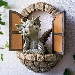 Lovely Courtyard Dragon Sculpture Resin Window Shape Statue Wall Art Home Outdoor Decoration C1