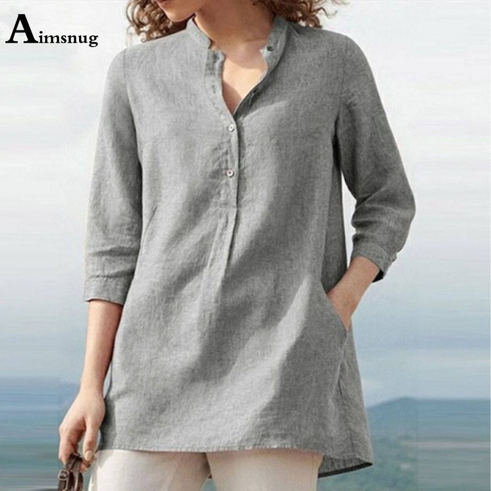 2021 Summer Latest Women's Tops Casual Pullovers Cotton Linen Blouse 3/4 Sleeve Gray Shirt Blusas Plus Size 5xl Femme Clothes