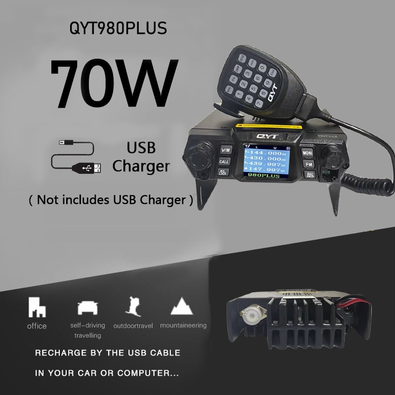 QYT 980plus mobile walkie talkie wireless 70W VHF UHF 200 channel color screen car station can usb charger