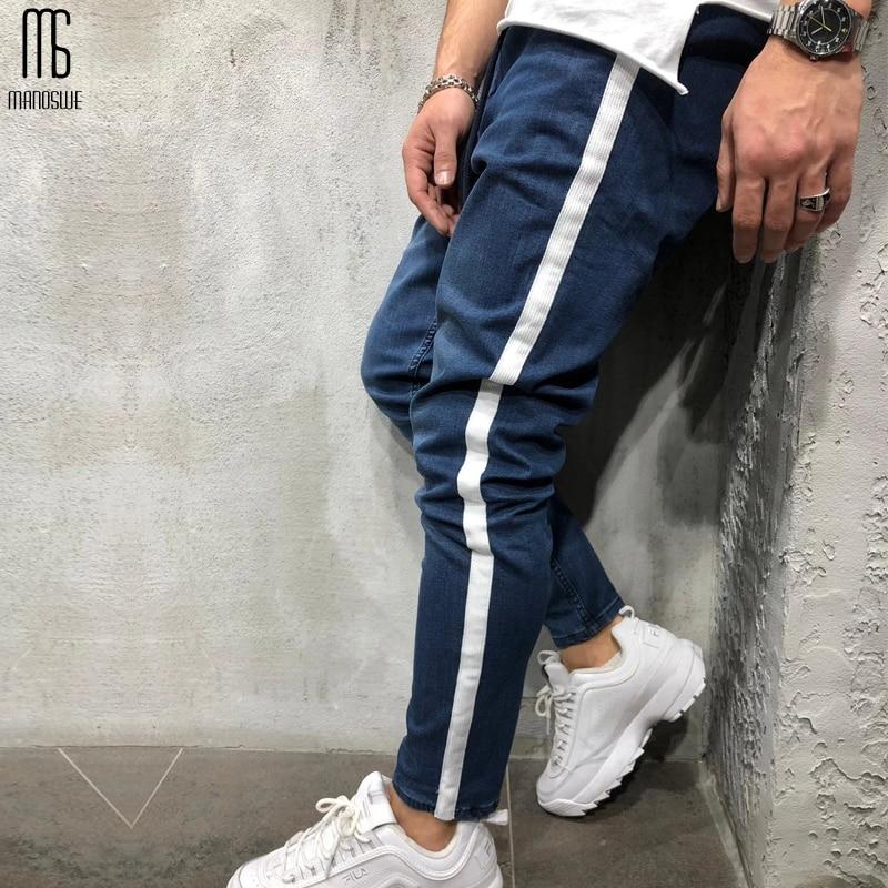 Manoswe sonbahar kış moda erkek kot rahat düz ayak Skinny Jeans pantolon 2019 spor spor Hip Hop siyah Denim