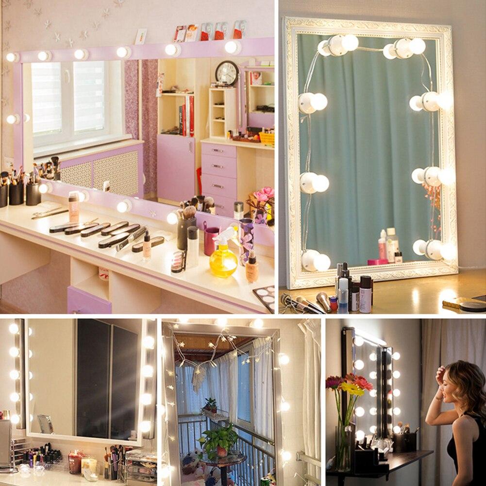 10 Uds espejo con luz regulable iluminación mano interacción tocador vanidad maquillaje USB alimentado bombilla LED ventosa cosmética Baño