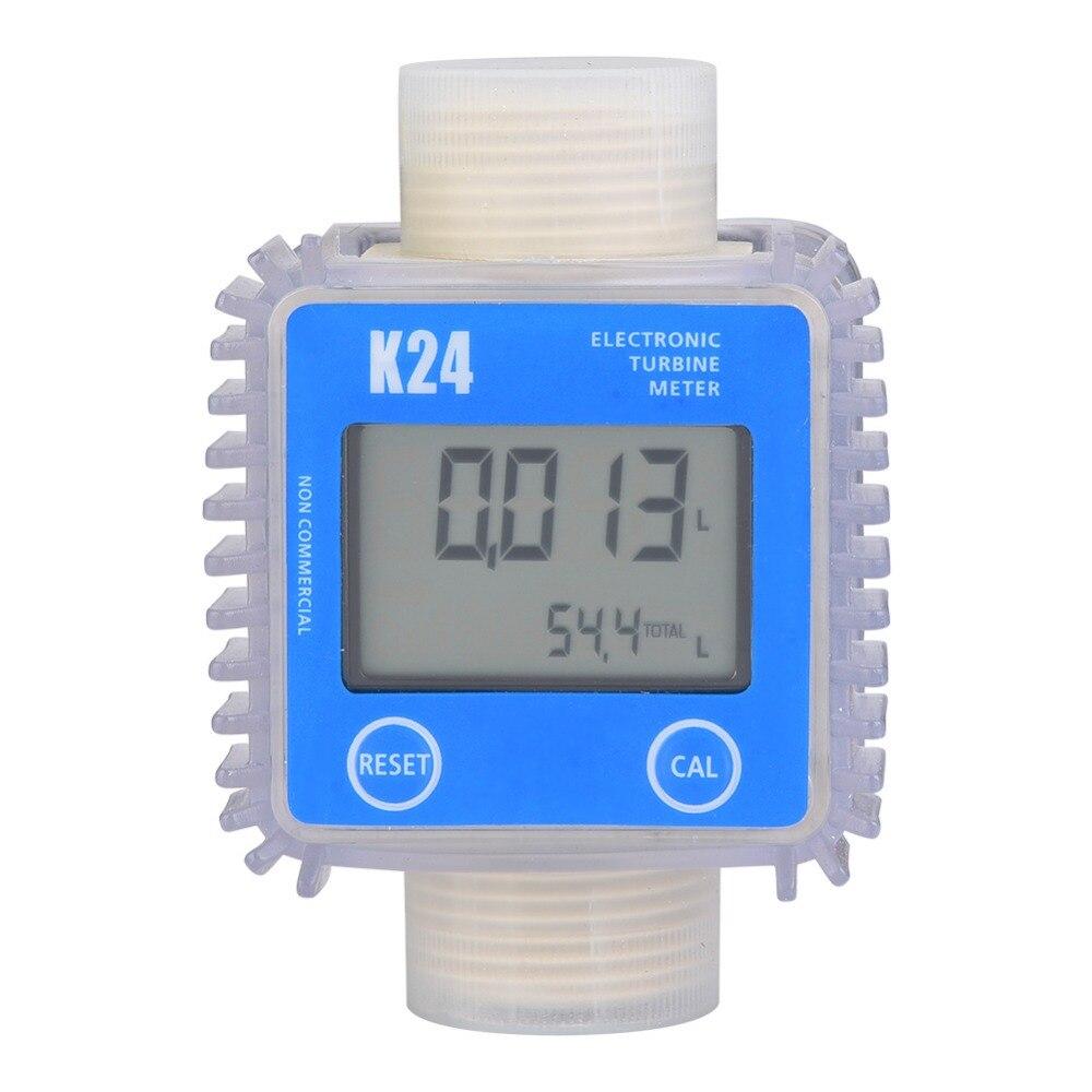 1pc K24 Turbine Digital Diesel Oil Fuel Flow Meter Gauge For Chemicals Liquid Water Hot