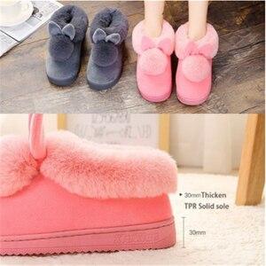 2020 новые модные осенне-зимние хлопковые тапочки, домашние тапочки с кроличьими ушками, зимняя теплая обувь, женские Симпатичные плюшевые Та...