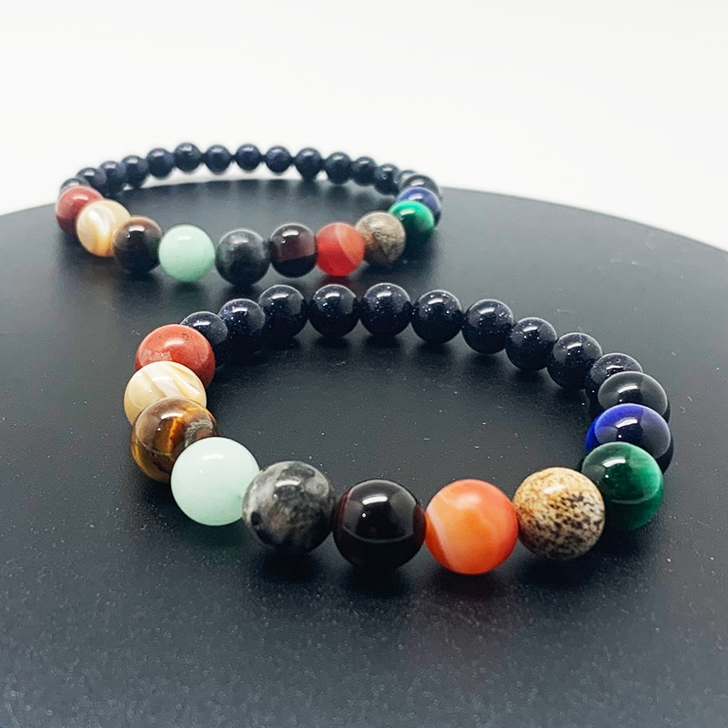 Charm Galaxy Natural Stone Bracelet Universe Eleven Constellation Healing Bracelet for Men and Women
