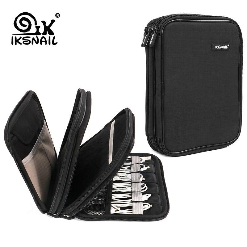 IKSNAIL-حقيبة تنظيم الكابلات ، ملحقات الإلكترونيات ، حقيبة السفر ، محرك USB ، 3 طبقات ، مجموعة العناية الشخصية ، اللفاف ، حقيبة التخزين