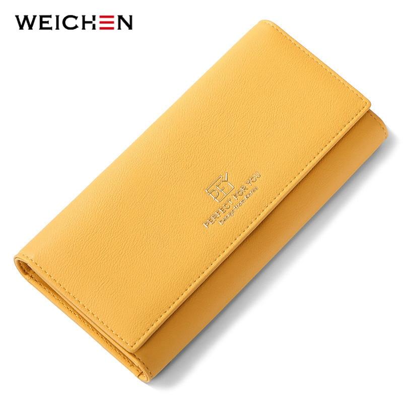 WEICHEN nowy projekt wiele działów portfele damskie Trifold o dużej pojemności posiadacz karty torebka portfel damski długie sprzęgło Carteras