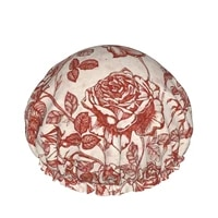toile de jouy roses double waterproof shower caps customized shower caps hair care drying accessories for women