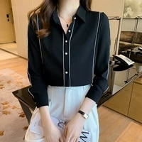 2021 autumn and winter new ladies shirt long sleeved chiffon top professional white shirt female temperament commuter ladies top