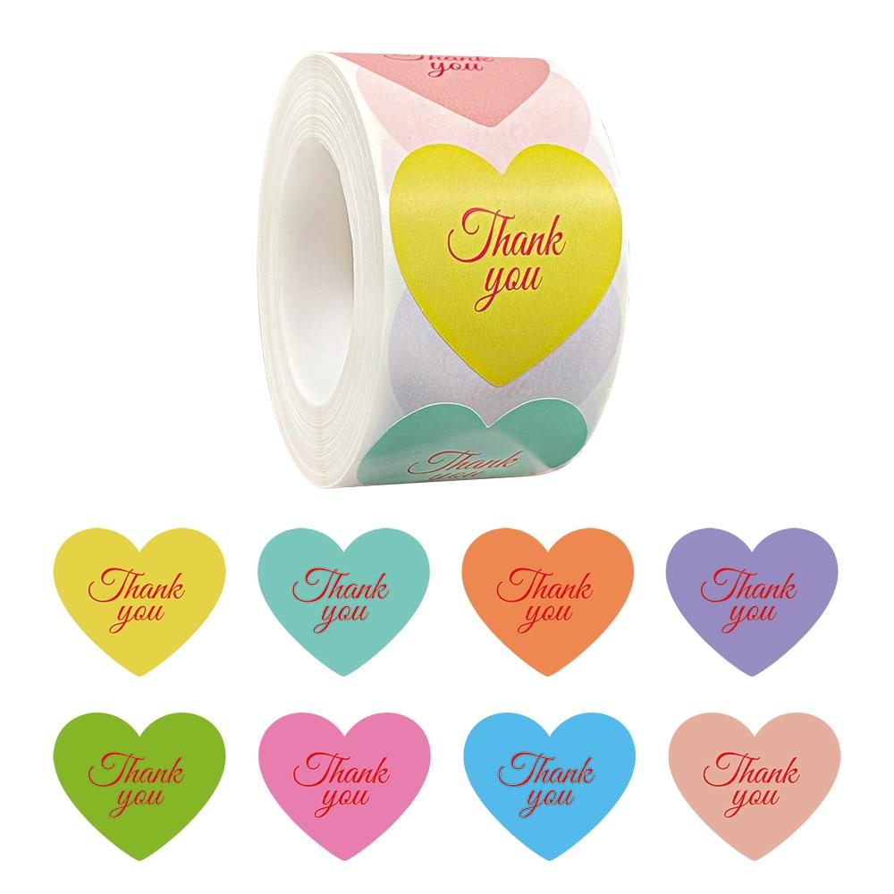 Яркие наклейка «спасибо» 500 шт./рулон, ярлыки для запечатывания сердца, свадебные праздничные коробки, упаковочные карты, ярлык