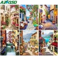 AZQSD peinture par numeros rue peint a la main peinture Art decoration de la maison decadrer photos par numeros paysage fait main cadeau
