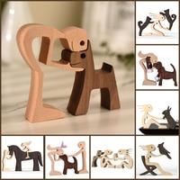 Деревянная фигурка для домашнего питомца, настольное украшение для щенка, Резьбовая модель, креативное украшение для дома и офиса, скульпту...