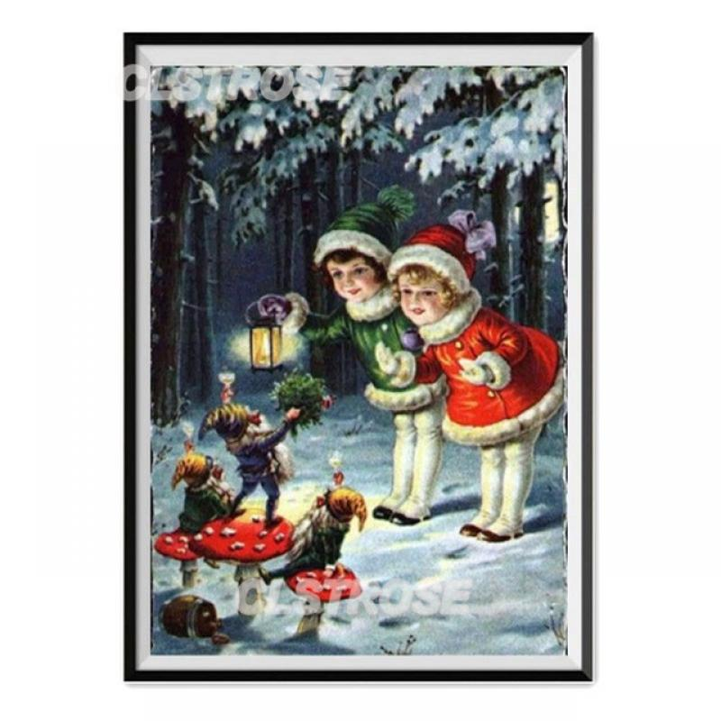 Diy Diamond Painting Christmas Snowman with Red Hat Sticker Rusty Diamond Home Decoration Wall Square Diamond Round Diamond  - buy with discount