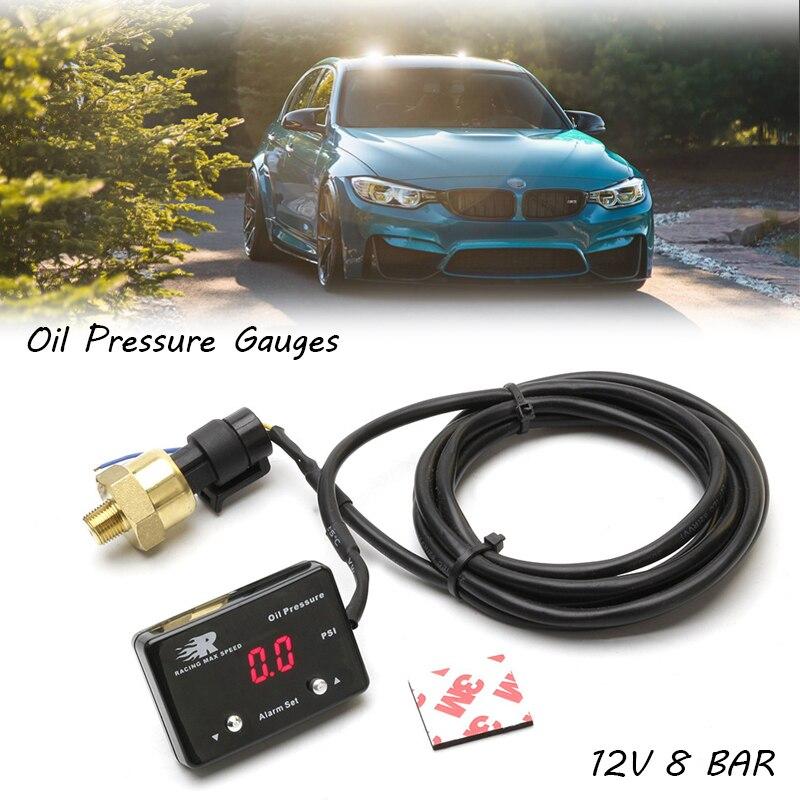 Manomètre dhuile de voiture numérique PSI   Avec capteur 12V 8 barres, rouge Led affichage numérique Led jauge OPM jauges de pression dhuile universelles