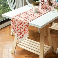 christmas table runner european and american cotton and linen bronzing cover towel fabric tassel light luxury decoration