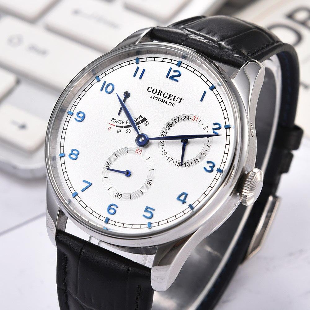Corgeut-ساعة رجالية ميكانيكية ، سوار معصم ، أوتوماتيكية ، ميكانيكية ، مع التاريخ ، مقاومة للماء ، ستانلس ستيل 316L ، 42 مللي متر