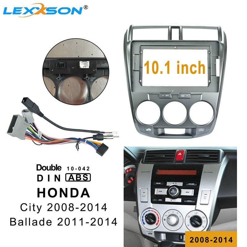 10.1 Inch Car Fascia For HONDA CITY 2008-2014 Double Din Fascias Audio Fitting Adaptor Frame Panel For Ballade 2011-2014