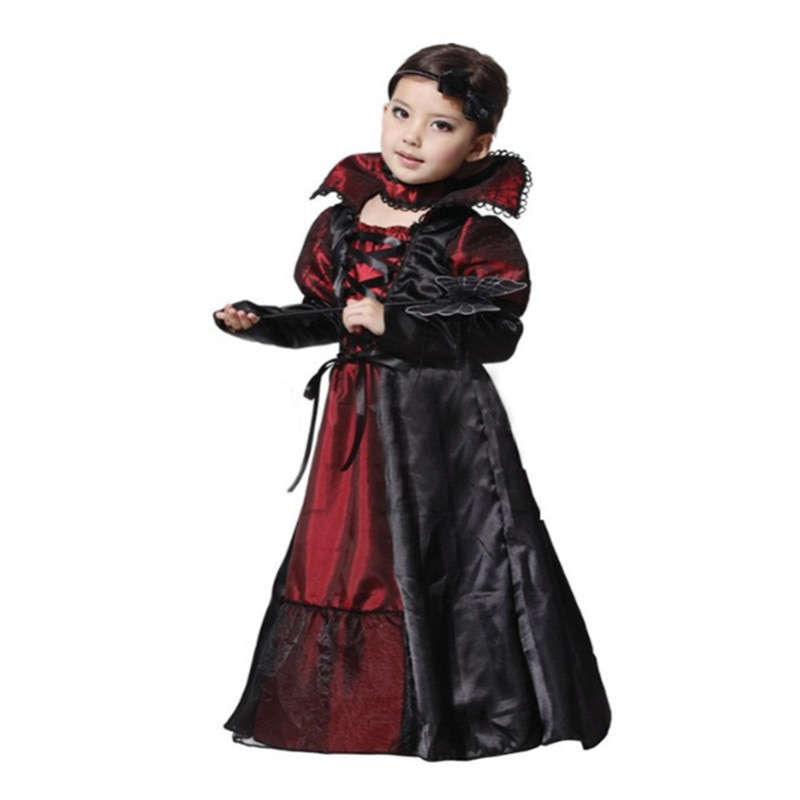 Kids Girls Halloween Costume Witch Vampire Cosplay Medieval Vintage Dress Children's Day The Dead Cl