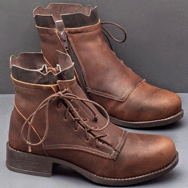 Meados de Bezerro Botas com Volta Sapatos de Salto Botas Femininas Outono Plutônio Laço-up Design Cor Sólida Baixo Mujer