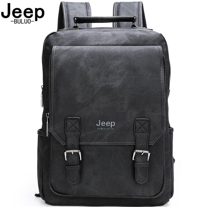 """Jeep buluo mochilas de couro dos homens viagem multi masculino estilo camuflagem militar dos homens 15.6 """"portátil saco escolar faculdade estilo"""