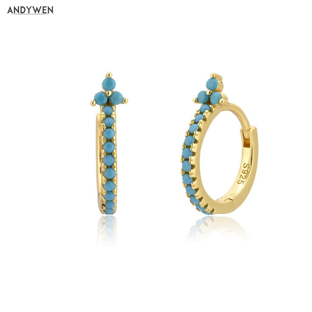ANDYWEN 925 Sterling Silver Turquoise Hoops Earring Piercing Luxury Zircon CZ Round Loops Ohrringe Pendientes Fashion Fine Jewel