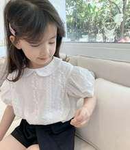 Chemises dété pour filles   À col de poupée blanc, chemise à manches courtes, mignonne et coréenne, pour enfants, nouvelle collection 2020